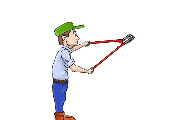 DIYer demonstrating how manual bolt cutters are used