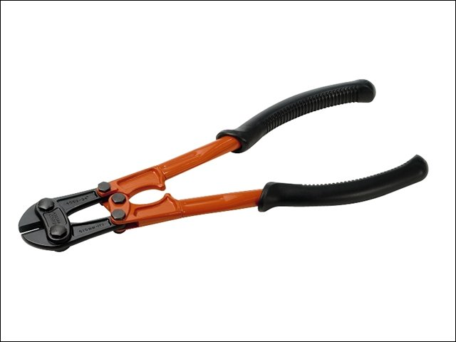 Orange handled bolt cutters with vinyl or rubber handle grips