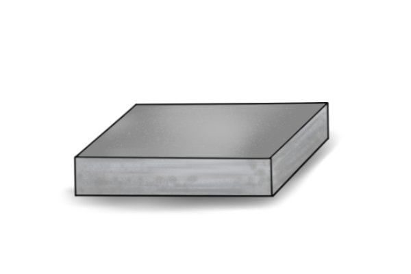 A square block of steel, the strong alloy which is the raw material for tools like bolt cutters.
