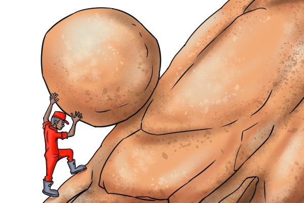 Cartoon image of man pushing boulder up hill, illustrating that you need to apply sustained force with a tool like a bolt cutter