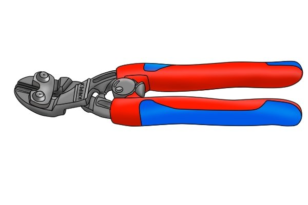 Angle head bolt cutters with distance marked of how far handle tips are raised from surface (60mm)