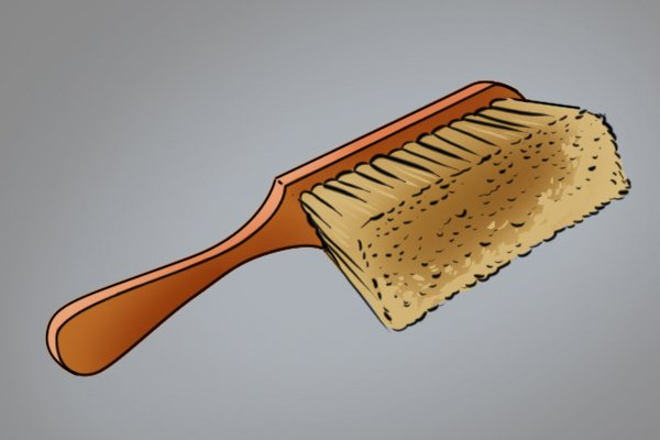 A firm bristle wooden brush with a handle, for use in cleaning debris from bolt cutter jaws