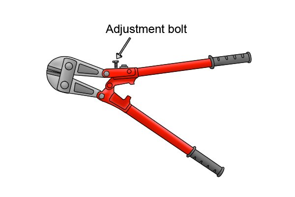Red bolt cutters with blade adjustment bolt labelled at neck.