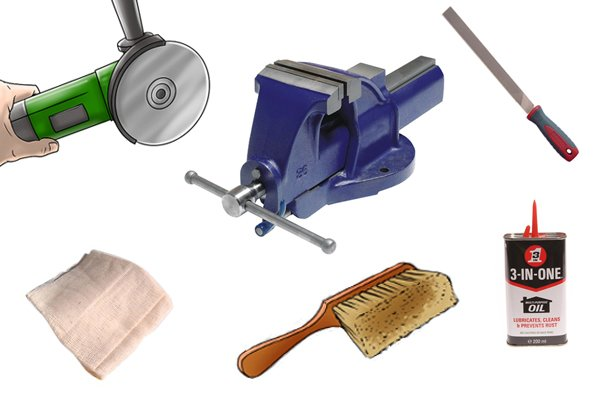 Equipment needed for sharpening bolt cutters: a vice, an angle grinder, a mill file, a firm bristle brush, a cleaning cloth and a small bottle of lubrication oil.