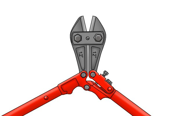 Wide open jaws of a pair of red, long-handled bolt cutters.