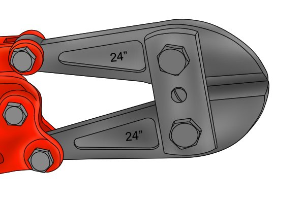Close-up of bolt cutter head showing two adjustment bolts, one on either side of neck