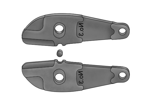 A pair of replacement bolt cutter jaws, separated and seen from side on