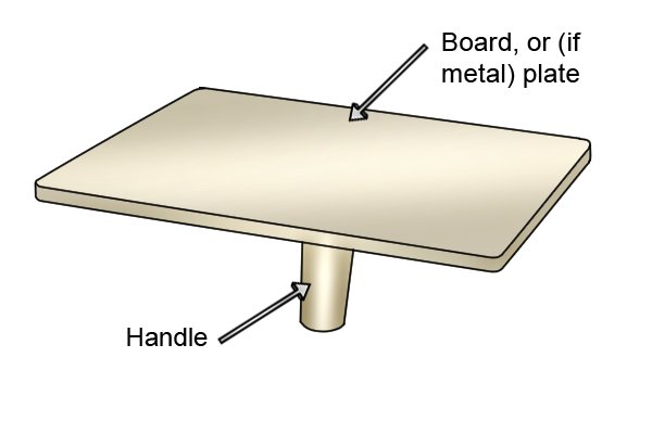 Diagram of cream plastic plasterer's hawk parts