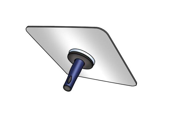 Metal hawk with blue handle