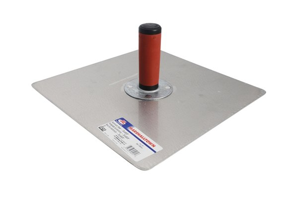 Metal hawk face down, with rounded corners and red/black handle