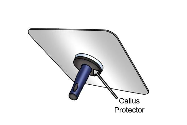 Callus protector on plasterer's hawk