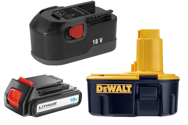 A selection of different batteries for cordless power tools.