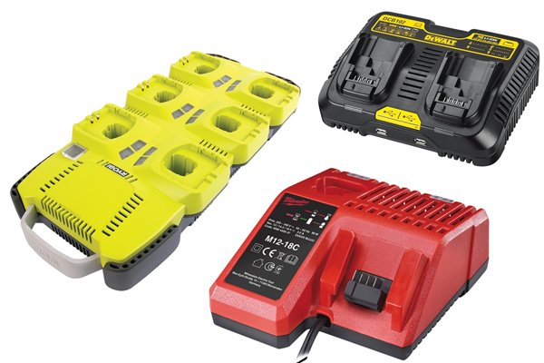 Chargers are used to recharge battery packs for cordless power tools to use.