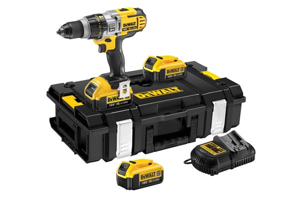Cordless power tool set with battery and charger.