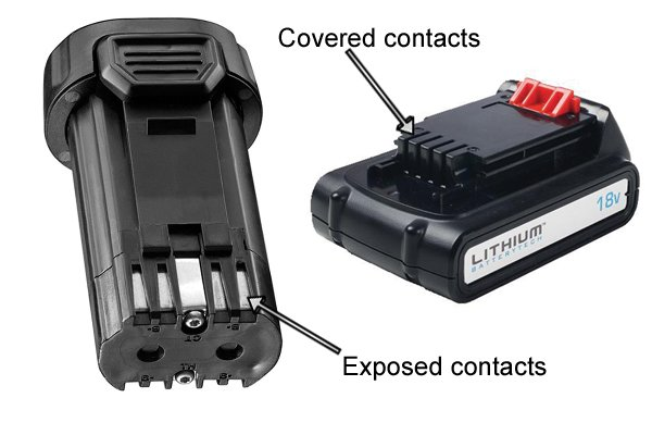 Exposed and covered contacts of a cordless power tool battery.