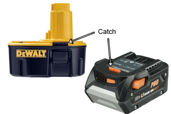 The catches hold the battery in place once the battery is fitted in the power tool.