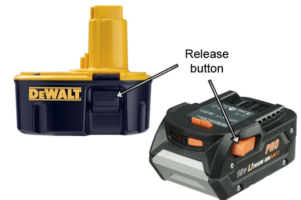 Release button releases the catch allowing the battery to be removed from the power tool.