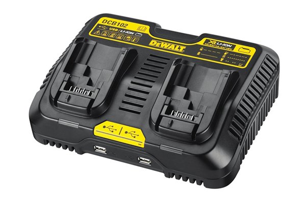 Dual port charger that can charge two rechargeable power tool batteries.