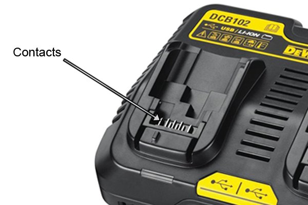 Charger contacts connect to the contacts of a power tool to pass electricity into them to recharge the battery.