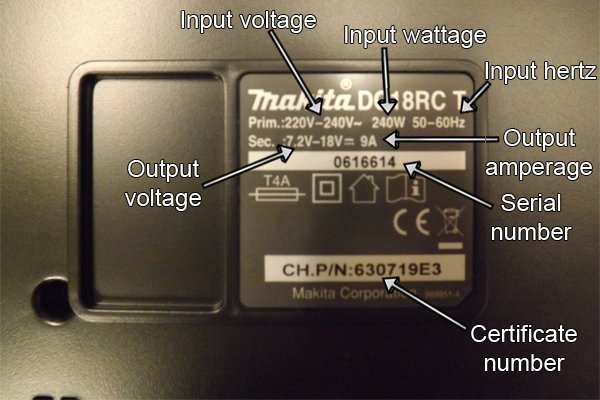 Meaning of printed information on charger of cordless power tool battery.