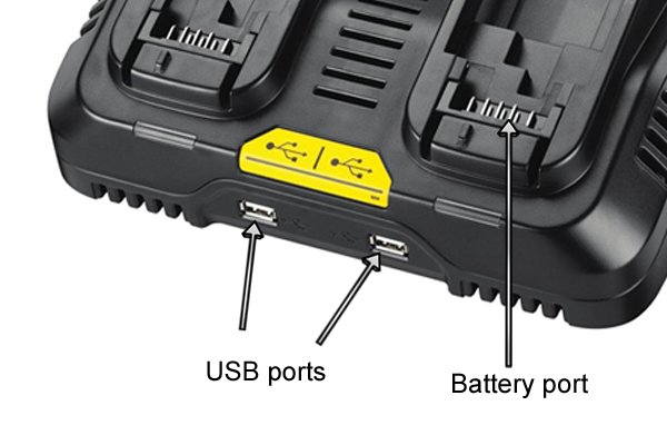 USB ports on a rechargeable power tool battery charger.
