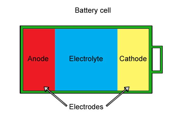 Anode and cathode (electrodes) and electrolyte in battery cell.