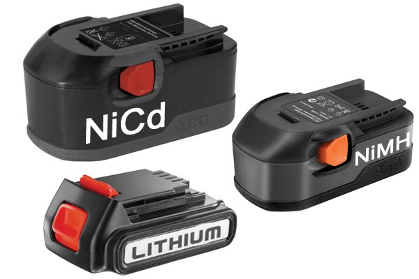 Nickel cadmium, nickel metal hydride, lithium ion (NiCd, NiMH, Li-ion) battery types.