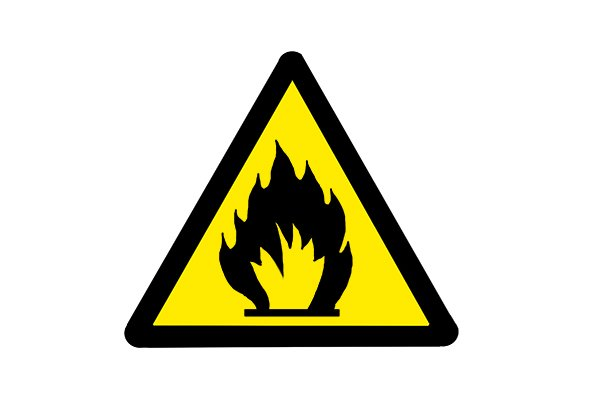 This symbol means the charger or cordless power tool battery should not be used near flammable materials.