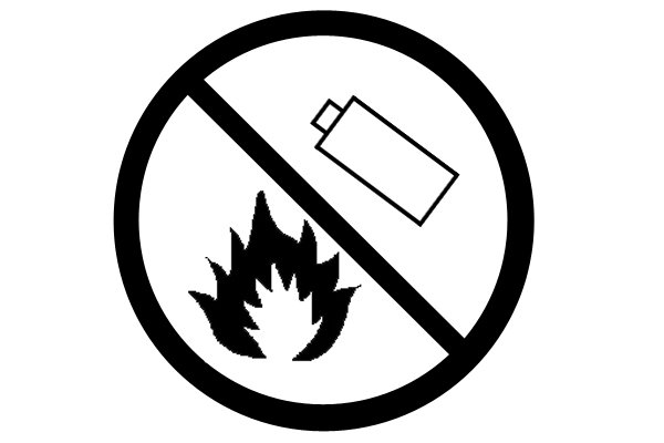 This symbol means you must not burn the battery pack.