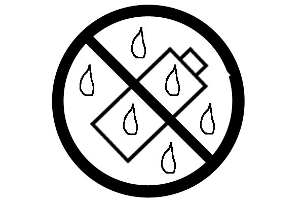 This symbol means that the battery must not be exposed to rain, snow or liquid.