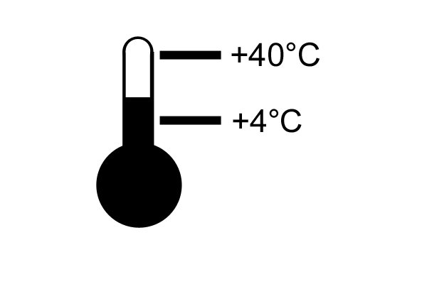 Thermometer symbol shows the highest and lowest temperatures that the charger or battery is safe to use at.