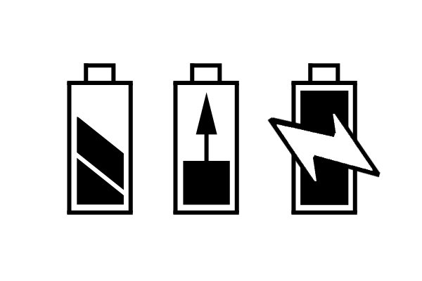 Symbols to show that the cordless power tool rechargeable battery is charging.