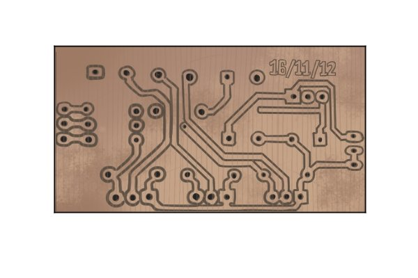 Copper circuit etched into coppwer sheet for a battery and charger.