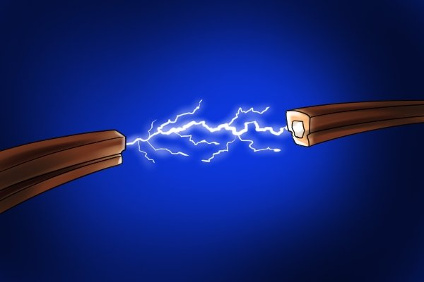 Spark causes by electrical contacts of a battery and charger of a cordless power tool coming too close.