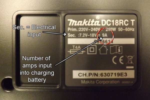 Number of amps input into charging battery by charger.