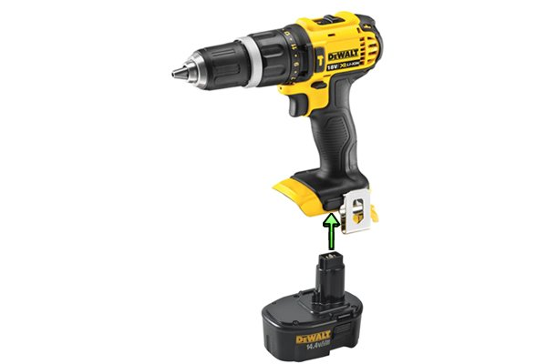 Line up the post of battery with the hole in cordless power tool.