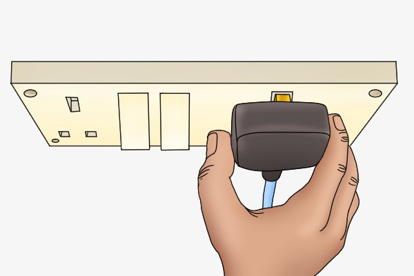 Unplug cordless power tool battery chargers from the wall by the plug not the cord.