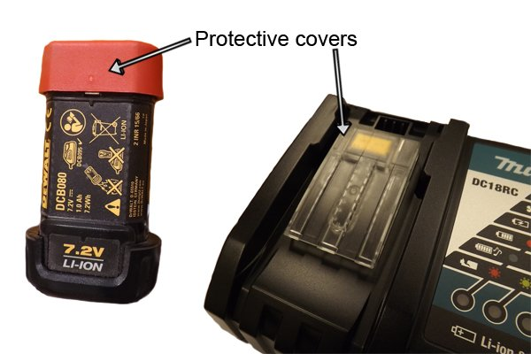 Protective covers prevent dust and dirt getting into the contacts of batteries and chargers of cordless power tools.