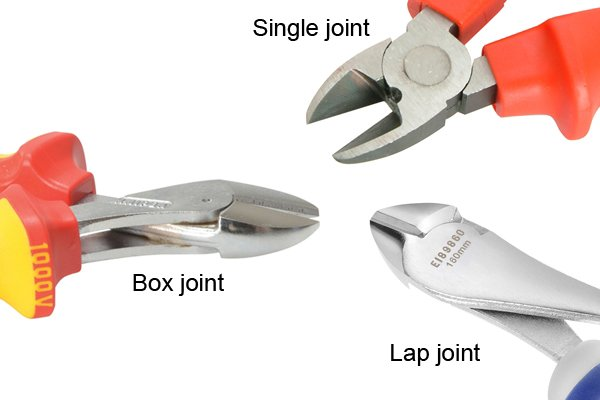 Box joint, lap joint, single joint of diagonal side cutting pliers, nippers, wire cutters.