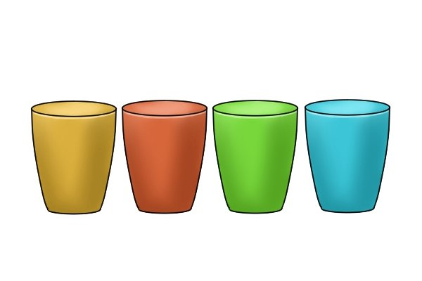 Plastic cups in lots of different colours like diagonal side cutting pliers, nippers or cutters handles.