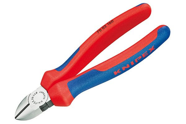 Chrome plated diagonal side cutting pliers, nippers, wire cutters.