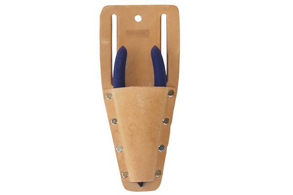 Diagonal side cutting pliers, nippers, cutters in leather belt pouch holder.