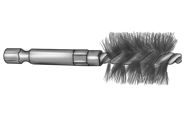 Power pip cleaning brush (AKA tube, interior, twisted, spiral brush) with integral shank for fitting into a power tool or drill