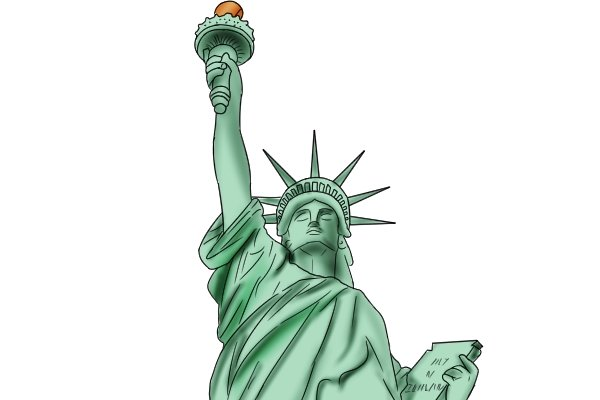 The stature of liberty is made of copper and is covered in a layer of oxidation