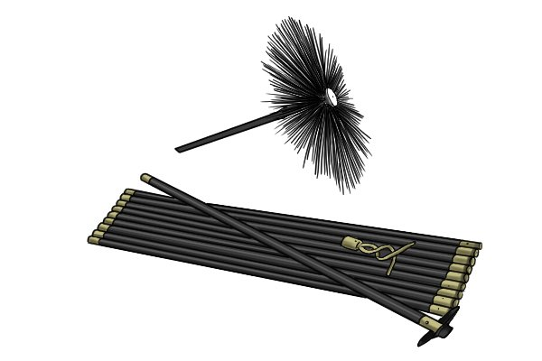 Flue pipe cleaning brush (AKA tube, spiral or twisted brush) with stem extension