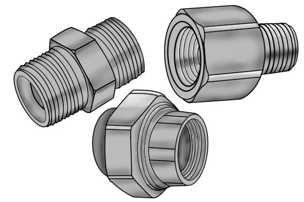 Various thread adaptors to change the size of type of your pipe cleaning brush (AKA tube, spiral or twisted brush) so it fits onto extension handles or rods