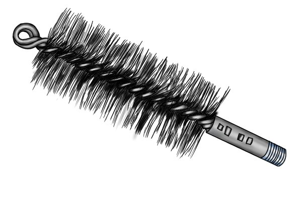Double-wound stemmed pipe-cleaning brush (tube, spiral or twisted brush)