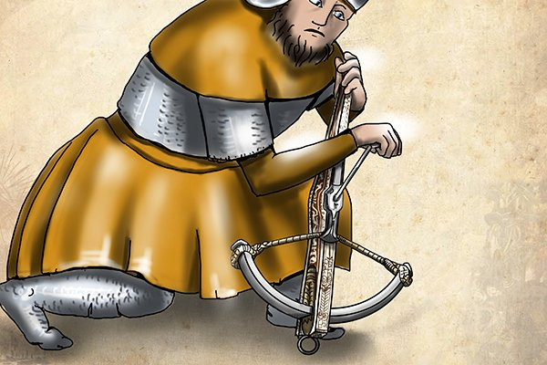 Winding a crossbow with a spanner-like tool in the 15th century painting.