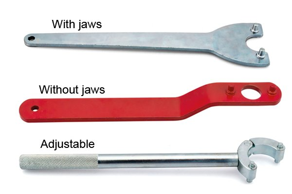 Pin spanners with and without jaws and adjustable versions.