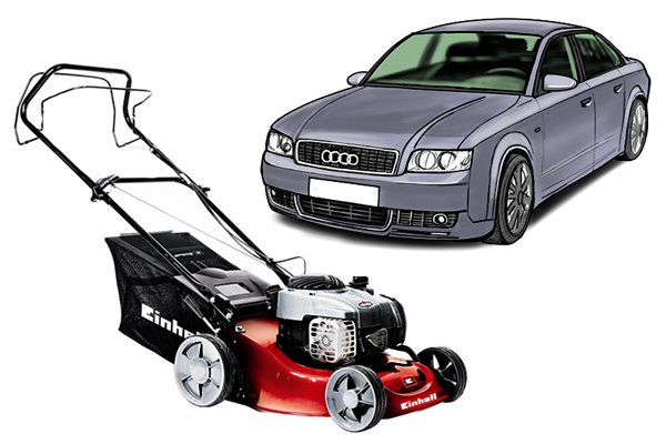 Lawnmower and car engines are run by petrol or diesel engines which use spark plugs and need spark plug spanners to change them.
